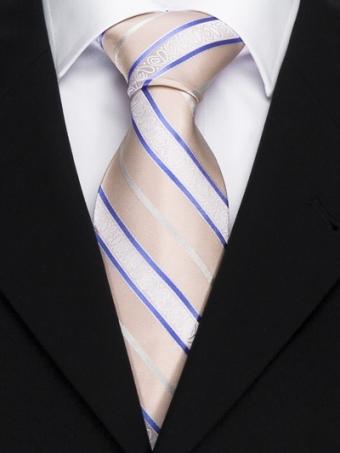 Handvernähte Krawatte aus Seide, lachsfarben mit lila und weissen Streifen