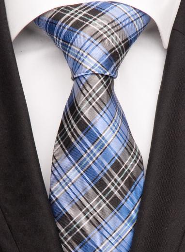 Handvernähte Krawatte aus Seide blau, weiss und schwarz gestreift
