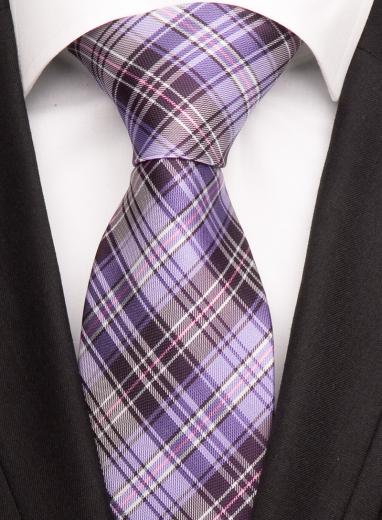 Handvernähte Krawatte aus Seide flieder, weiss und schwarz gestreift