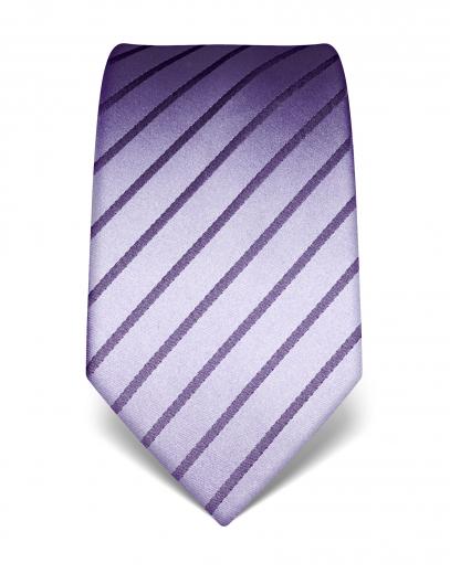 Handvernähte Krawatte aus Seide in lila, dunkel gestreift