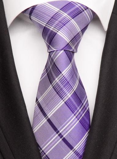 Handvernähte Krawatte aus Seide in fliederfarbenem Muster
