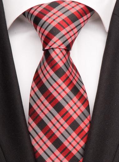 Handvernähte Krawatte aus Seide mit schwarzen, roten und weissen Streifen