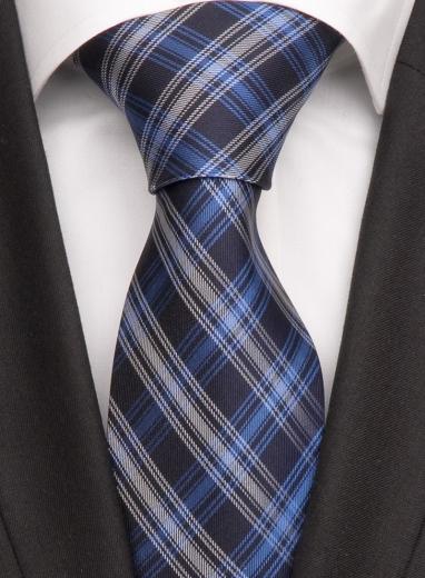 Handvernähte Krawatte aus Seide schwarz blau gestreift