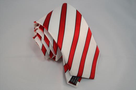Handvernähte Krawatte aus Seide weiss und schwarz rot gestreift