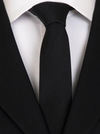 Handvernähte slim line Krawatte aus Seide schwarz