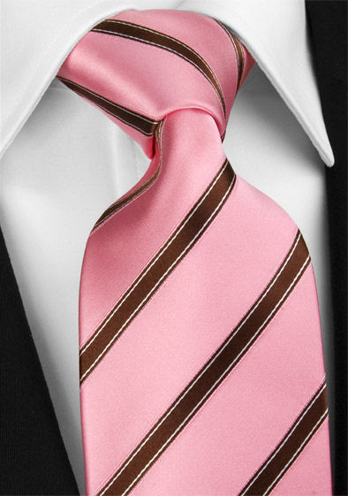 cravate de soie rose p le avec rayures bordeaux. Black Bedroom Furniture Sets. Home Design Ideas