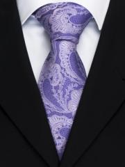 Handvernähte Krawatte aus Seide in fliederfarbenen Paisley Muster