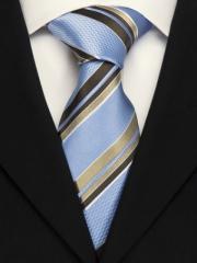 Handvernähte Krawatte aus Seide blau weiss mokka gold gestreift