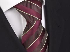 Handvernähte Krawatte aus Seide burgund, schwarz gold gestreift