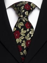 Handvernähte Krawatte aus Seide in rotem und goldenem floralen Muster