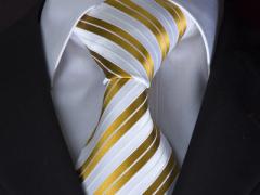 Handvernähte Krawatte aus Seide weiss und golden gestreift