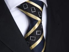 Handvernähte Krawatte aus Seide schwarz blau gold gestreift