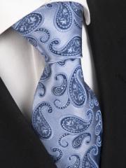 Handvernähte Krawatte aus Seide in blauem Paisley Muster
