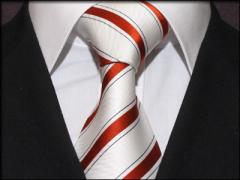 Handvernähte Krawatte aus Seide weiss und rostrot/schwarz gestreift