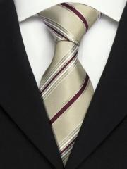 Handvernähte Krawatte aus Seide creme mit Streifen in bordeaux und weiss
