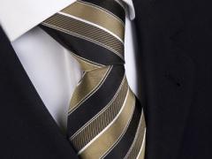 Handvernähte Krawatte aus Seide, schwarz mit goldenen Streifen