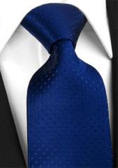 Handvernähte Krawatte aus Seide in Königsblau,  hellblau getupft