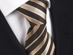 Handvernähte Krawatte aus Seide, schwarzbraun mit goldenen Streifen