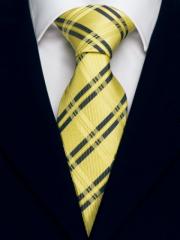 Handvernähte Krawatte aus Seide maisgelb gold und schwarz gestreift