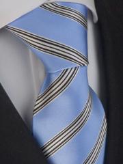 Exklusive seven fold Krawatte aus Seide azurblau, weiss und schwarz gestreift