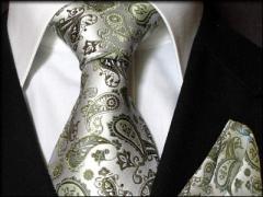 Krawatten Set mit Einstecktuch aus Seide silber grün