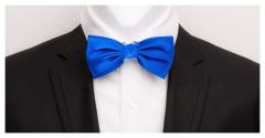 Herrenfliege aus feinster Seide, kobaltblau und vorgebunden