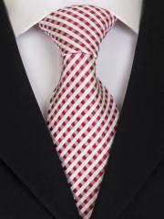 Handvernähte slim line Krawatte aus Seide weiss rot kariert