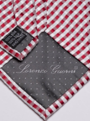 Handvernähte Krawatte aus Seide weiss rot kariert