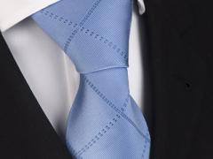 Handvernähte Krawatte aus Seide in blau, changierend verwoben