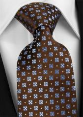 Handvernähte Krawatte aus Seide, braun weiss und hellblau getupft