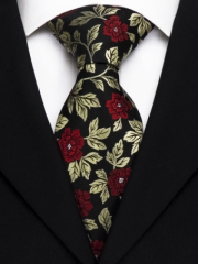 Exklusive seven fold Krawatte aus Seide in rotem und goldenem floralen Muster