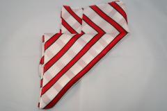 Damentuch bedruckt Seide Satin, 25x150cm, weiss mit roten und schwarzen Streifen