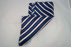 Damentuch bedruckt Seide Twill, 25x150cm, blau schwarz und weiss gestreift