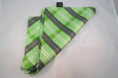 Damentuch bedruckt Seide Twill, 25x150cm, grün schwarz und weiss gestreift