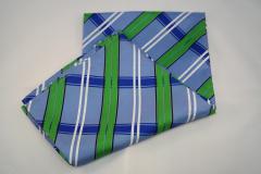 Damentuch bedruckt Seide Twill, 60x60cm, blau weiss und grün gestreift