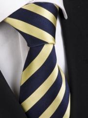 Exklusive seven fold Krawatte aus Seide dunkelblau und gold gestreift