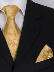 Exklusive seven fold Krawatte aus Seide im gelb goldenen Paisley Muster