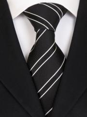 Exklusive seven fold Krawatte aus Seide schwarz weiss gestreift