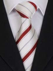 Exklusive seven fold Krawatte aus Seide, weiss mit roten und silbernen Streifen