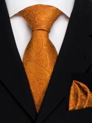 Exklusives seven fold Krawatten Set mit Einstecktuch aus Seide in orangem Paisley