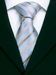 Handvernähte Krawatte aus Seide blau messing gold gestreift