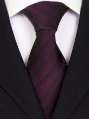 Handvernähte Krawatte aus Seide bordeaux schwarz gestreift