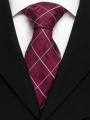 Handvernähte Krawatte aus Seide bordeaux weiss gestreift