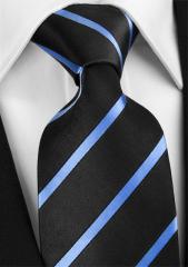 Handvernähte Krawatte aus Seide dunkelblau und hellblau gestreift