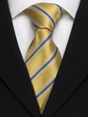 Handvernähte Krawatte aus Seide gold und blau weiss gestreift