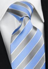 Handvernähte Krawatte aus Seide hellblau, silbern und weiss gestreift