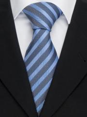 Handvernähte Krawatte aus Seide in blau, changierend gestreift