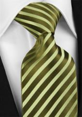 Handvernähte Krawatte aus Seide in olivgrün, changierend gestreift