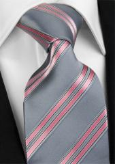 Handvernähte Krawatte aus Seide in silbergrau, rosé gestreift