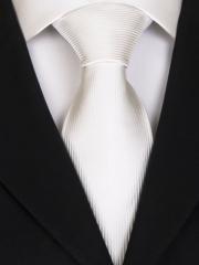 Handvernähte Krawatte aus Seide in weiss, changierend gestreift